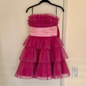 Betsey Johnson Pink Ruffled Bow Dress